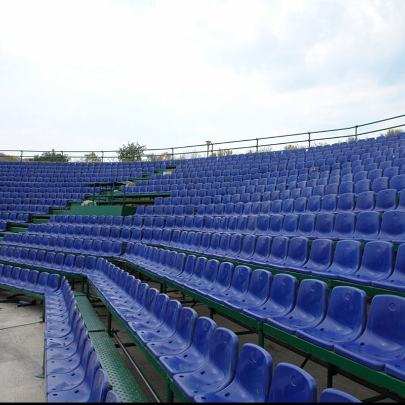 METALLIC TRIBUNE WITH PLASTIC SEATS AND STAGE AT ALIMOS